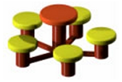 Image of 5 disc seat with table